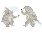 Print {Children's Illustration} Watercolor Illustration A4 (29.7cm x 21cm): The Bees - Black Bear, Wall Art, Children, Story