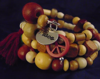 Beaded Wood Memory wire bracelet, with charms
