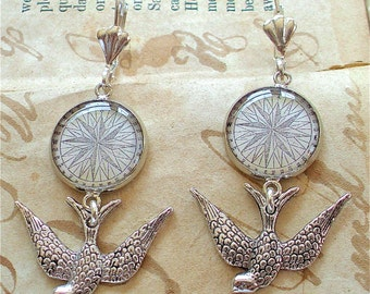 Compass Earrings - Antique Nautical Print Dangle Earrings in Silver - Pirate Jewelry - Sparrow Earrings