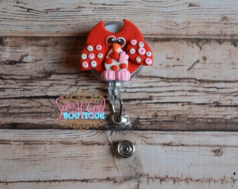 Holiday Lanyard-polymer clay-badge reel-Owl Valentine's Day name badge holder-ID holder-animal retractable reel-badge clip- badge pulls