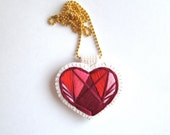 Caged heart necklace hand embroidered reds violets and pinks on bright cream muslin and felt back with gold tone ball chain Valentines day