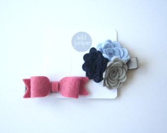 Baby Hair Clips in Pink and Navy