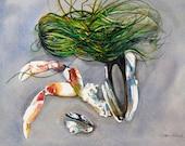 Watercolor ORIGINAL-Gifts from the Sea-beach seashell, ocean, sand, seaweed