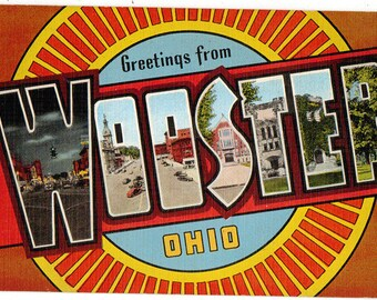 Linen Postcard, Greetings from Wooster, Ohio, Large Letter, ca 1950