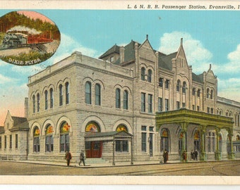 Linen Postcard, Evansville, Indiana, L and N Railroad Station, Dixie Flyer, 1938