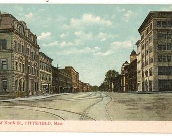 Vintage Postcard, Pittsfield, Massachusetts, View of North Street, ca 1910