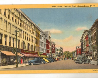 Linen Postcard, Ogdensburg, New York, Ford Street Looking East, ca 1945
