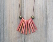 Pink Fringe Ceramic Necklace, Spike Necklace, Long, Clay, Tribal Necklace