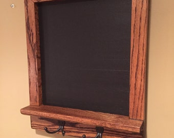 Small Framed Chalkboard Stained Oak Shelf and Hooks