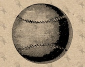 Vintage Baseball Ball black and white image Instant Download Digital printable picture clipart graphic - transfer, burlap, iron on 300dpi