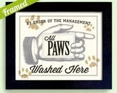 Dog Wash Laundry Room Decor Wipe Your Paws Family Dog Art Clean Dog Cat Grooming Bathroom Art Dirty Dog Paw Print Framed Art Print Pet Art