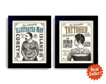 Tattoo Art Tattoo Parlor Sideshow Art Circus Poster Art Print Ink Carnival Man and Woman Tattoo Art Illustrated Ink Rockabilly