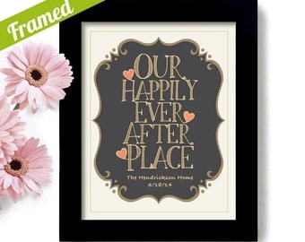Housewarming Wedding Gift - Unique Engagement Gift - Framed Personalized Art Print - Happily Ever After - Realtor Welcome Gift Newlywed
