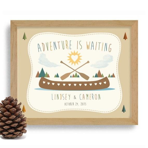Wedding Gifts For Adventurous Couples : Couple Gift Personalized Wedding Gift Kayaking Art Outdoor Adventure ...