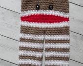 Sock Monkey Pants, Crochet Sock Monkey Pants, Sock Monkey Pants Photo Prop - Made to Order