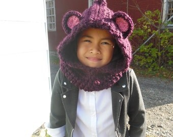 Children Cowl Hat, Crochet Hooded Cowl Hat, Children to Adult - Made to Order