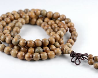 8mm 108PCS Natural Fragrant Green Sandalwood Verawood Prayer Buddha Mala Meditation Beads Round Loose Beads BULK LOT (90182467-392)