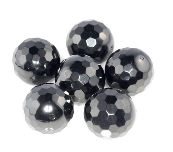 19mm black jet gemstone organic micro faceted