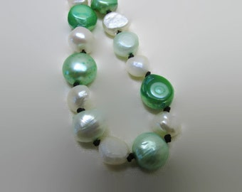 Multi Green & Off White Pearl Necklace (N168)