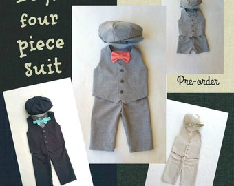 Ring Bearer Outfit, Baby Suit, Baby Boy Suit, Newsboy Outfit, Ring Bearer Clothes, Grey Ring Bearer, Mini Groom, Wedding Clothes, Toddler