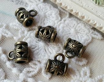 5 x 8 mm Antique Bronze Bead Caps (.mhg)