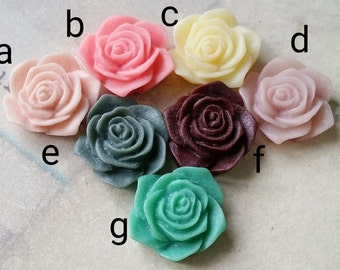 19 mm Flat Back Rose Resin Flower Cabochons of Assorted Colors (.am)(zzb)