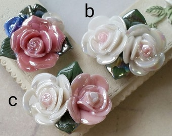 Two Holes and Flat Back Porcelain Cluster Roses  (t.g)