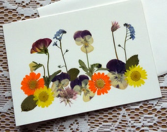 HANDMADE GREETING CARD - Pressed Flowers, Unique Colorful Garden Flowers Art, Blank Stationary, Pansy, Daisy Flower Card, Frameable Art