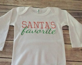 Santas Favorite One Piece or Shirt (Custom Text Colors/Wording)
