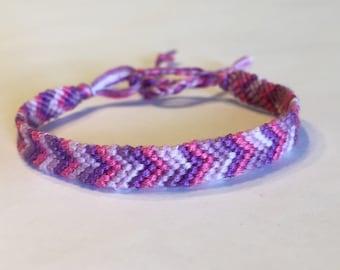 Pink and Lavender Ombre Chevron Friendship Bracelet