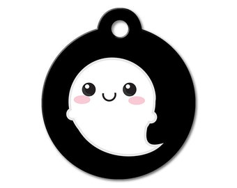 SALE Halloween Ghost Pet Tag - Dog Tags for Dogs - Custom Pet ID Tag for Dogs or Cats, Personalized Dog ID Tag, Sizes Small and Large