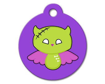 SALE Halloween Zombie Angel Pet Tag - Dog Tags for Dogs - Custom Pet ID Tag for Dogs or Cats, Personalized Dog ID Tag, Sizes Small and Large