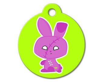 SALE Halloween Zombie Bunny Pet Tag - Dog Tags for Dogs - Custom Pet ID Tag for Dogs or Cats, Personalized Dog ID Tag, Sizes Small and Large