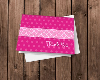 20 Hot Pink  Thank You Cards