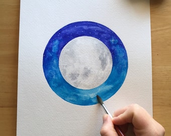 Suspended in Space - 9x12 Watercolor Painting on Paper