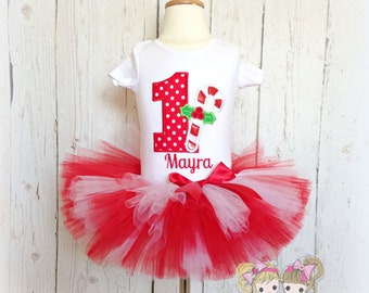 Christmas Candy Cane Birthday Tutu Set- 1st Christmas- 2nd, 3rd, 4th, 5th birthday- Custom embroidery- Holiday tutu outfit
