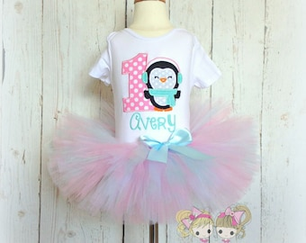 Winter Penguin Tutu Set- Pink and Blue- Winter Outfit- Christmas- Holiday- Photo prop