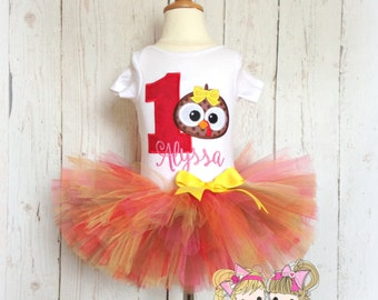 First Thanksgiving Turkey Tutu Set- First Birthday- Fall colors- Custom embroidery- Fall photo prop