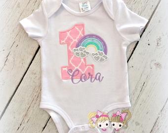 Rainbow Birthday Shirt - Girls 1st Birthday shirt - First birthday - pastel rainbow birthday shirt - embroidered birthday shirt