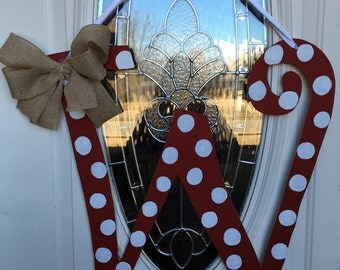 "Hand Painted  Red and White Ploka Dot Letter ""W"" Door Hanger  With Burlap Bow Made To Order"