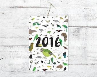 New Zealand Birds Eco-friendly A4 2016 Calendar