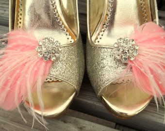Wedding Shoe Clips, Bridal Shoe Clips,Feather Shoe Clips,Pink Coral Shoe Clips, Rhinestone Shoe Clips, Clips for Wedding Shoes, Bridal Shoes