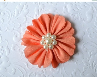 """ON SALE Coral Fabric Flower, Pearl Center. 2.5"""". 1 Flower ~Annalea Collection"""