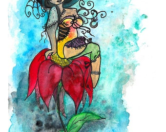 Zombie Art Print, Watercolor poster, Sugar Skull Decor, Folk Art Print, Wall Decor, red flower, Teen wall decor, Fairy Decor, Zombie fairy,