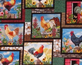 Cock-A-Doodle-Doo Rooster Scene - Elizabeth's Studio Novelty Cotton Fabric, Farm Animal Fabric