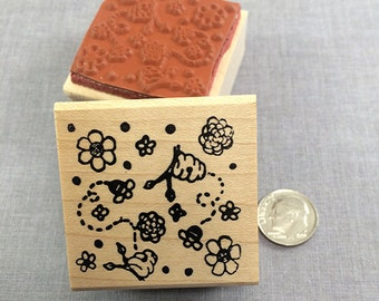 Bee Background Rubber Stamp