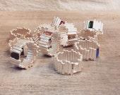STICKS SWAROVSKI SILVER plated - ring - geometric - minimal - crystal - rectangle - jewelry - art jewelry - maria solorzano - red crystal