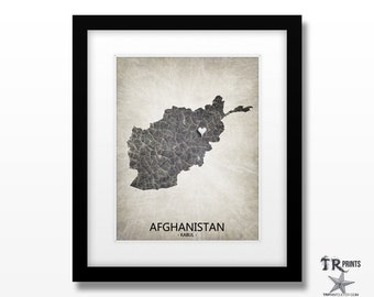Afghanistan Map Art Print - Home Is Where The Heart Is Love Map - Original Custom Map Art Print Available in Multiple Size and Color Options
