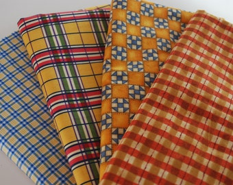 One pound Fabric Scraps Assortment Checkered patterned Cotton Fabric Mix