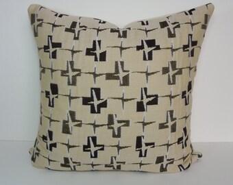 Retro Mid Century Designer Pillow Cover, Brown, Tan Decorative Cushion Cover, Throw Pillow, 20 x 20